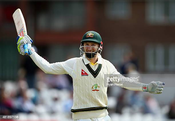 Peter Nevill of Australia prepares to bat uring day three of the Tour Match between Derbyshire and Australia at The 3aaa County Ground on July 25...