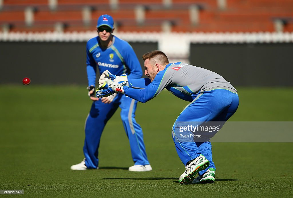 <a gi-track='captionPersonalityLinkClicked' href=/galleries/search?phrase=Peter+Nevill&family=editorial&specificpeople=6755208 ng-click='$event.stopPropagation()'>Peter Nevill</a> of Australia trains during an Australian nets session at Basin Reserve on February 11, 2016 in Wellington, New Zealand.