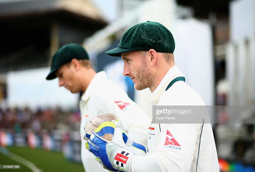 <a gi-track='captionPersonalityLinkClicked' href=/galleries/search?phrase=Peter+Nevill&family=editorial&specificpeople=6755208 ng-click='$event.stopPropagation()'>Peter Nevill</a> of Australia walks out to field during day four of the Test match between New Zealand and Australia at Basin Reserve on February 15, 2016 in Wellington, New Zealand.