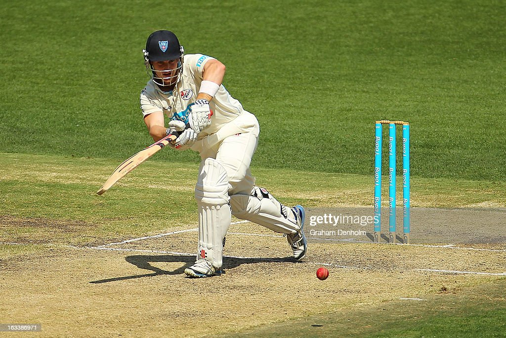 Peter Nevill of the Blues bats during day three of the Sheffield Shield match between the Victorian Bushrangers and the New South Wales Blues at Melbourne Cricket Ground on March 9, 2013 in Melbourne, Australia.