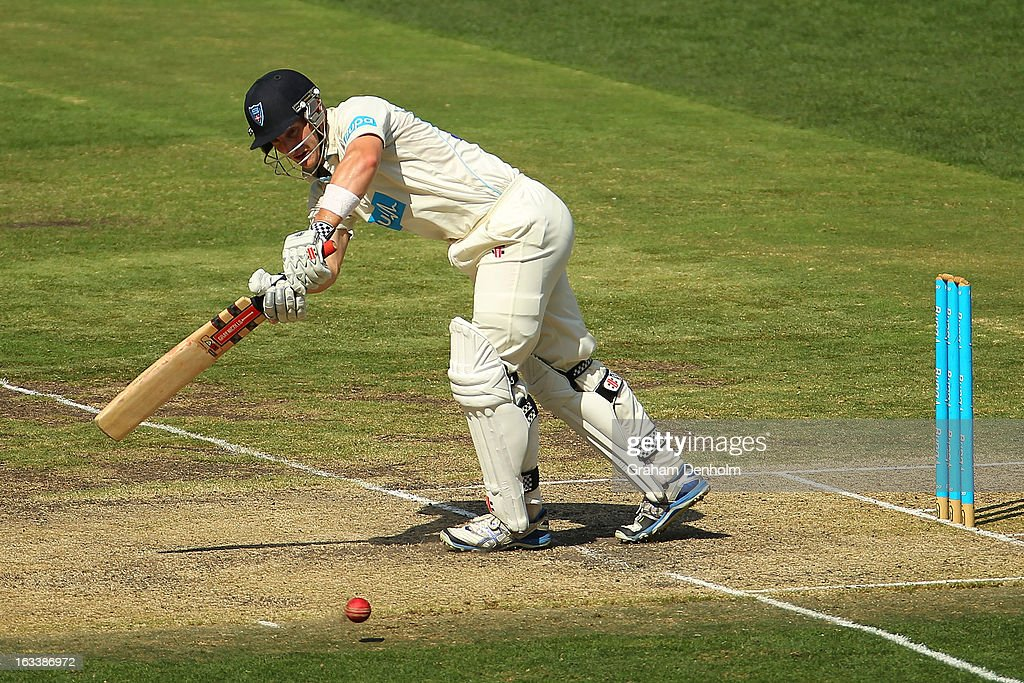<a gi-track='captionPersonalityLinkClicked' href=/galleries/search?phrase=Peter+Nevill&family=editorial&specificpeople=6755208 ng-click='$event.stopPropagation()'>Peter Nevill</a> of the Blues bats during day three of the Sheffield Shield match between the Victorian Bushrangers and the New South Wales Blues at Melbourne Cricket Ground on March 9, 2013 in Melbourne, Australia.