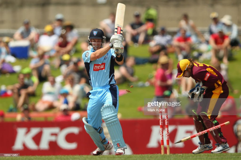 Peter Nevill of the Blues is bowled during the Ryobi Cup Final match between the Queensland Bulls and the New South Wales Blues at North Sydney Oval on October 27, 2013 in Sydney, Australia.