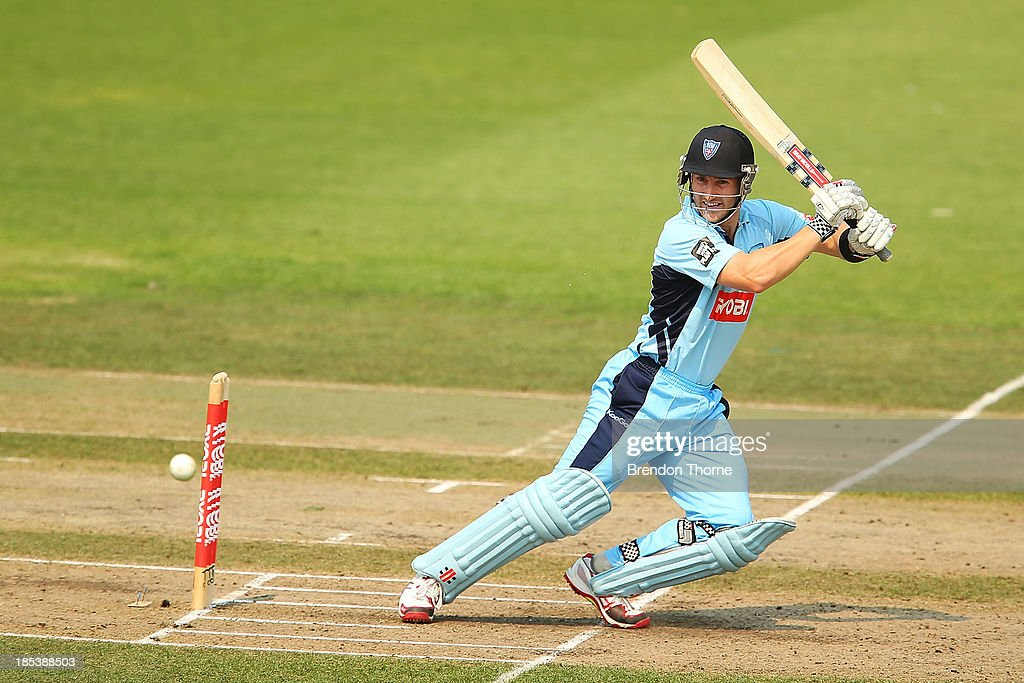 Peter Nevill of the Blues plays a cut shot during the Ryobi Cup match between the New South Wales Blues and the Victorian Bushrangers at North Sydney Oval on October 20, 2013 in Sydney, Australia.