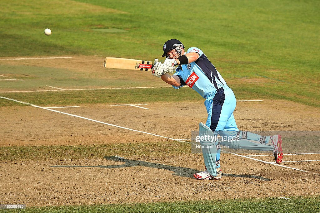 Peter Nevill of the Blues plays a stroke on the on side during the Ryobi Cup match between the New South Wales Blues and the Victorian Bushrangers at North Sydney Oval on October 20, 2013 in Sydney, Australia.
