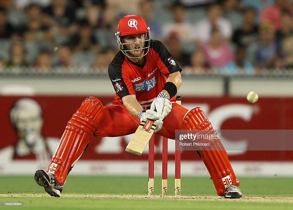 Peter Nevill of the Renegades plays a shot during the Big Bash League match between the Melbourne Stars and the Melbourne Renegades at Melbourne Cricket Ground on January 6, 2013 in Melbourne, Australia.