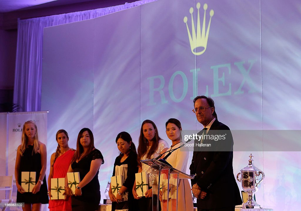 Peter Nicholson of Rolex introduces the 2012 first time winners on stage at the LPGA Rolex Awards Celebration at the Ritz-Carlton Resort on November 16, 2012 in Naples, Florida.