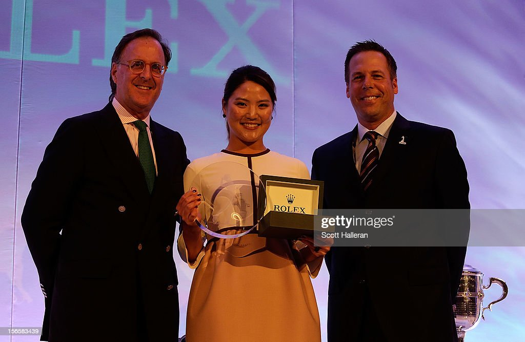 Peter Nicholson of Rolex poses with 2012 LPGA Rookie of the Year <a gi-track='captionPersonalityLinkClicked' href=/galleries/search?phrase=So+Yeon+Ryu&family=editorial&specificpeople=3965650 ng-click='$event.stopPropagation()'>So Yeon Ryu</a> of South Korea and Kraig Kann of the LPGA at the LPGA Rolex Awards Celebration at the Ritz-Carlton Resort on November 16, 2012 in Naples, Florida.