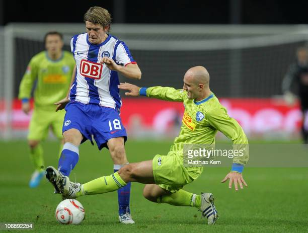 Peter Niemeyer of Berlin battles for the ball with Milos Maric of Bochum during the Second Bundesliga match between Hertha BSC Berlin and VFL Bochum...
