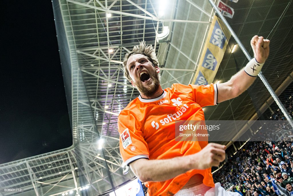 <a gi-track='captionPersonalityLinkClicked' href=/galleries/search?phrase=Peter+Niemeyer&family=editorial&specificpeople=605402 ng-click='$event.stopPropagation()'>Peter Niemeyer</a> of Darmstadt celebrates his team's second goal during the Bundesliga match between 1899 Hoffenheim and SV Darmstadt 98 at Wirsol Rhein-Neckar-Arena on February 7, 2016 in Sinsheim, Germany.