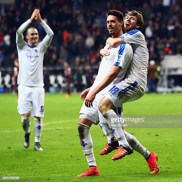 Peter Niemeyer Sandro Wagner and Luca Caldirola of Darmstadt celebrate after the Bundesliga match between Eintracht Frankfurt and SV Darmstadt 98 at...