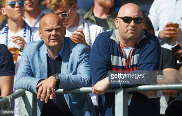Peter Norrelund Executive Vice President and CEO of MTG Sport / Viasat and Kim Mikkelsen editor of Viasat / TV3 Sport looks on from the stands prior...