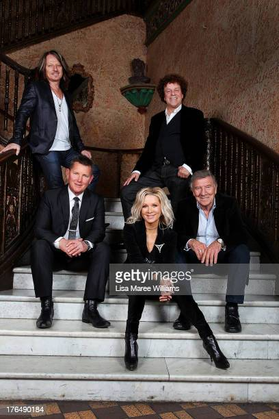 Peter Northcote Tom Burlinson Danielle Spencer Leo Sayer and Don Spencer pose during a photo call at the Capitol Theatre on August 14 2013 in Sydney...