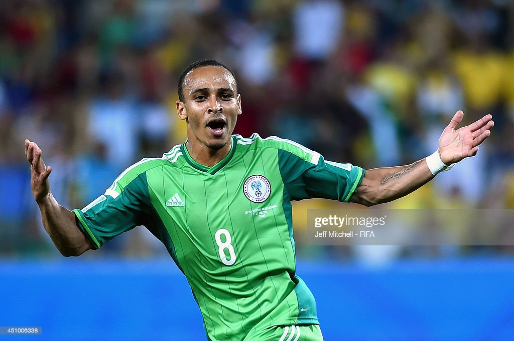 Peter Odemwingie of Nigeria celebrates scoring his team's first goal during the 2014 FIFA World Cup Brazil Group F match between Nigeria and Bosnia-Herzegovina at Arena Pantanal on June 21, 2014 in Cuiaba, Brazil.