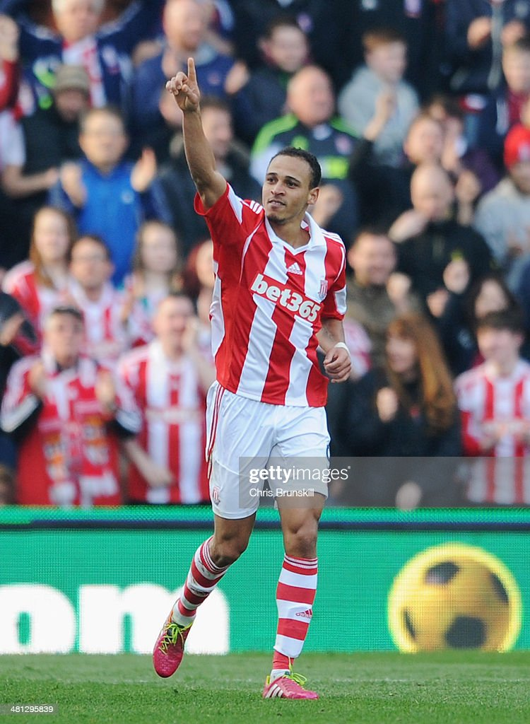 Peter Odemwingie of Stoke City celebrates his goal during the Barclays Premier League match between Stoke City and Hull City at Britannia Stadium on March 29, 2014 in Stoke on Trent, England.