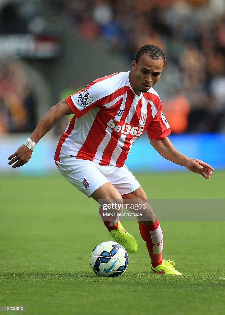 Peter Odemwingie of Stoke in action during the Barclays Premier League match between Hull City and Stoke City at the KC Stadium on August 24, 2014 in Hull, England.