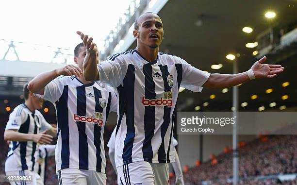 Peter Odemwingie of West Brom celebrates scoring his goal during the Barclays Premier League match between Liverpool and West Bromwich Albion at...