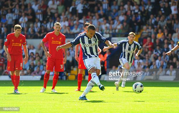 Peter Odemwingie of West Brom scores their second goal from the penalty spot during the Barclays Premier League match between West Bromwich Albion...