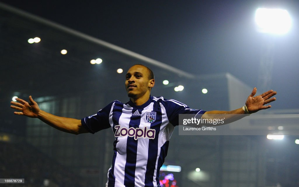 Peter Odemwingie of West Bromwich Albion celebrates scoring his team's second goal during the Barclays Premier League match between West Bromwich Albion and Southampton at The Hawthorns on November 5, 2012 in West Bromwich, England.