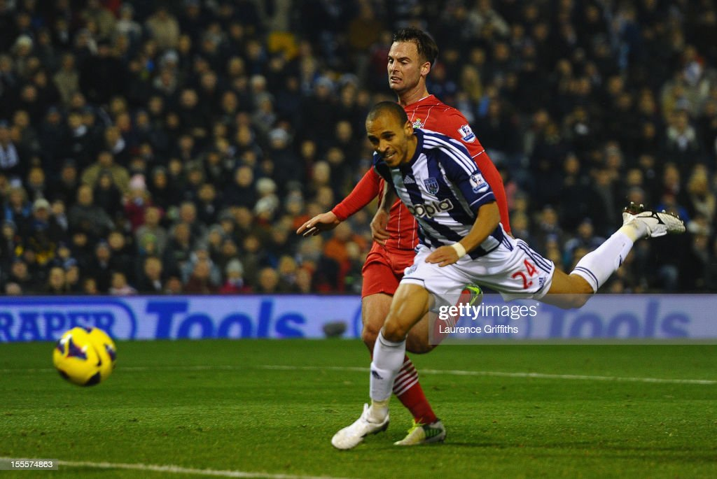 <a gi-track='captionPersonalityLinkClicked' href=/galleries/search?phrase=Peter+Odemwingie&family=editorial&specificpeople=648594 ng-click='$event.stopPropagation()'>Peter Odemwingie</a> of West Bromwich Albion scores his team's second goal during the Barclays Premier League match between West Bromwich Albion and Southampton at The Hawthorns on November 5, 2012 in West Bromwich, England.