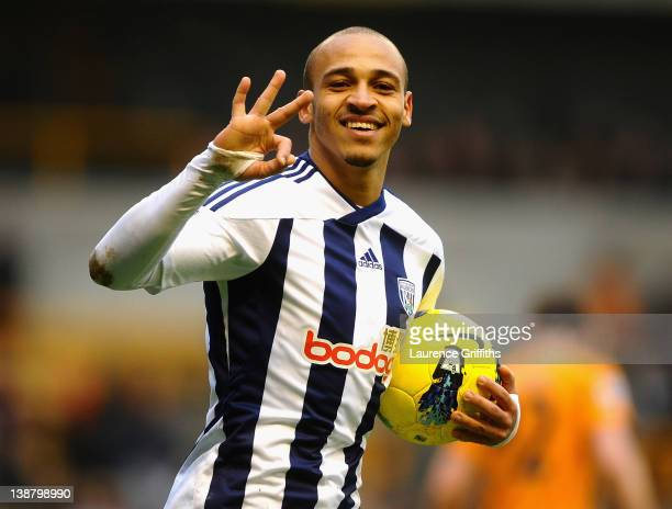 Peter Odemwingie of West Bromwich celebrates his third goal during the Barclays Premier League match between Wolverhapton Wanderers and West Bromwich...