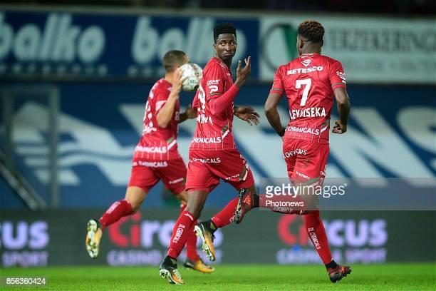 Peter Olayinka forward of SV Zulte Waregem and Aaron Leya Iseka forward of SV Zulte Waregem pictured during the Jupiler Pro League match between SV...