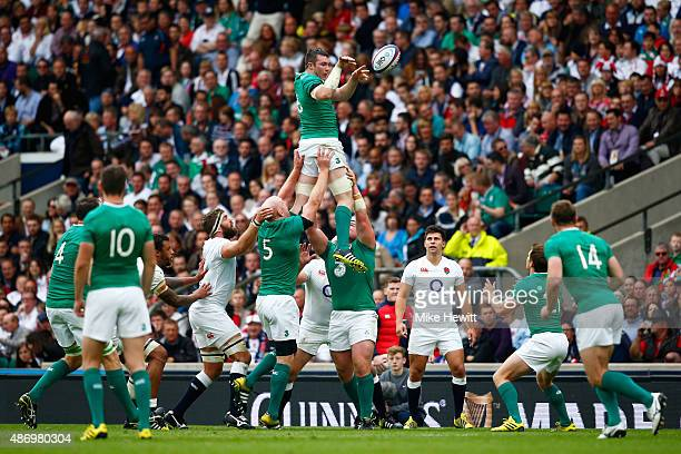 Peter O'Mahoney of Ireland goes up for the line out ball during the QBE International match between England and Ireland at Twickenham Stadium on...