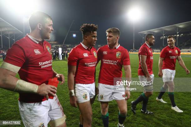 Peter O'Mahony Anthony Watson Owen Farrell Taulupe Faletau and George North of the Lions celebrate following their team's 123 victory during the 2017...