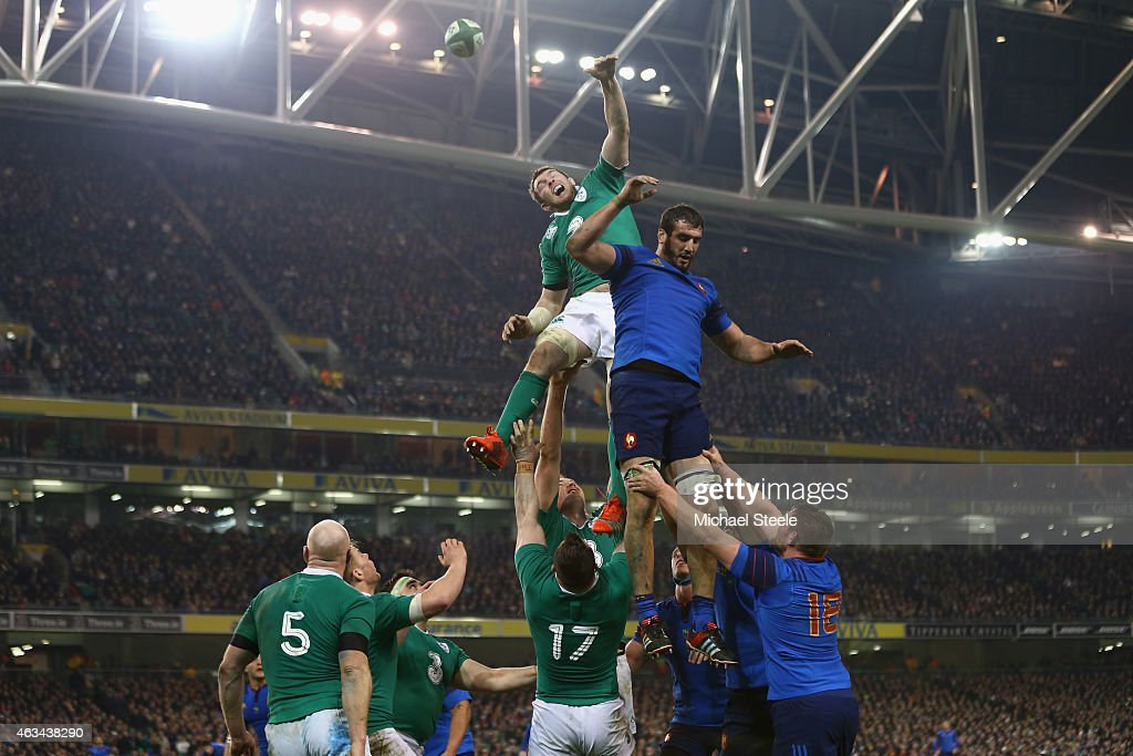 Peter O'Mahony of Ireland challenges Yoann Maestri of France at a lineout during the RBS Six Nations match between Ireland and France at the Aviva Stadium on February 14, 2015 in Dublin, Ireland.