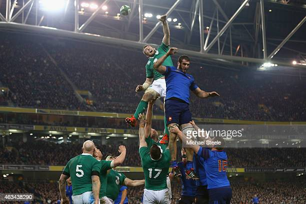 Peter O'Mahony of Ireland challenges Yoann Maestri of France at a lineout during the RBS Six Nations match between Ireland and France at the Aviva...
