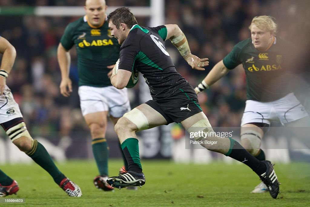 Peter O'Mahony of Ireland competes during the International rugby match between Ireland and South Africa in the Aviva Stadium on November 10, 2012 in Dublin, Ireland.