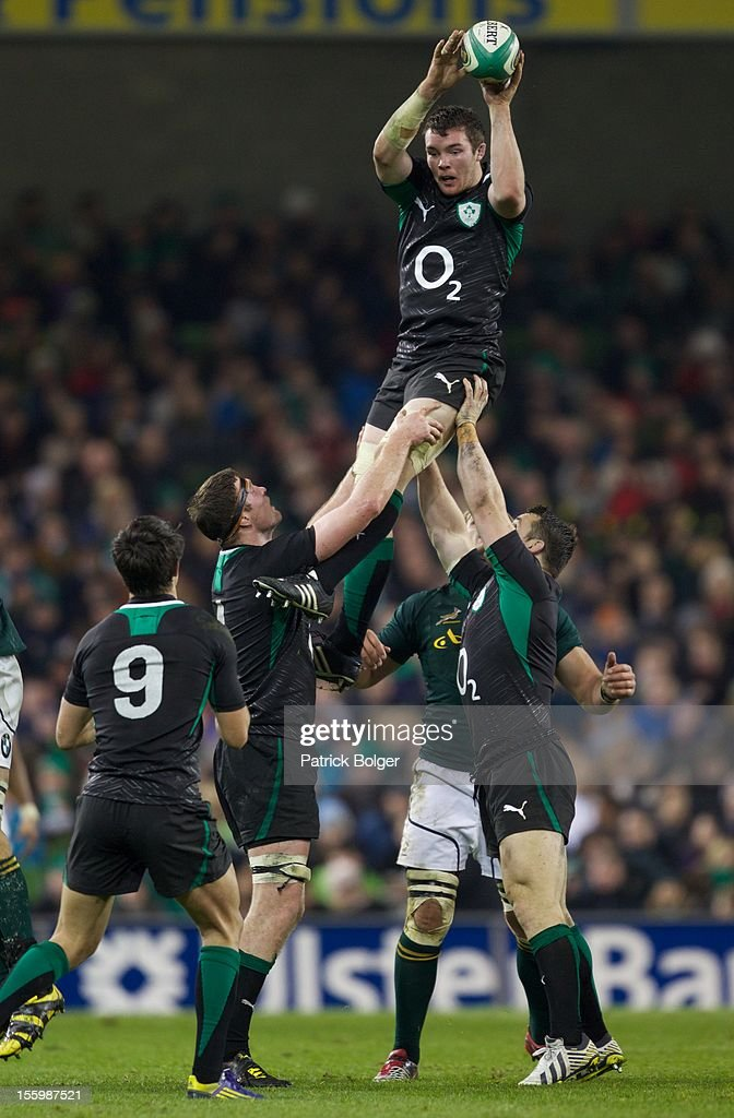 Peter O'Mahony of Ireland look on during the International rugby match between Ireland and South Africa in the Aviva Stadium on November 10, 2012 in Dublin, Ireland.