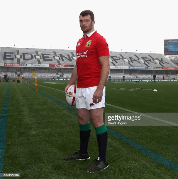 Peter O'Mahony who will captain the British Irish Lions in the first test against the New Zealand All Blacks poses at Eden Park on June 23 2017 in...