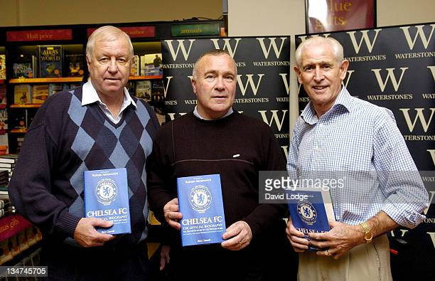Peter Osgood Ron Harris and Peter Bonetti during Former Chelsea Players Sign Copies of 'Chelsea FC The Official Biography' at Waterstone's in London...