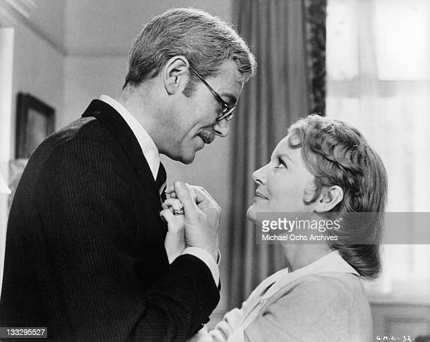 Peter O'Toole and Petula Clark in a happy moment in a scene from the film 'Goodbye Mr Chips' 1969