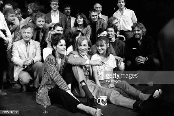Peter O'Toole star of the new Macbeth which opens at the Old Vic with members of the cast Left is Bryan Forbes the director O'Toole sits in between...