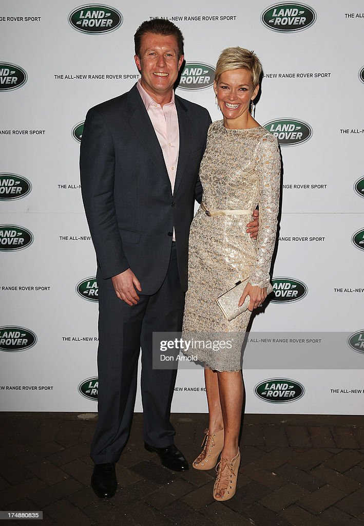 Peter Overton and Jessica Rowe arrive at a Range Rover Sport launch event at the Overseas Passenger Terminal on July 29, 2013 in Sydney, Australia.