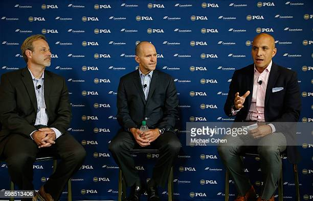 Peter P Bevacqua Chief Executive Officer PGA of America speaks as Joe Nigro Chief Executive Officer Constellation and Justin Zeulner Executive...