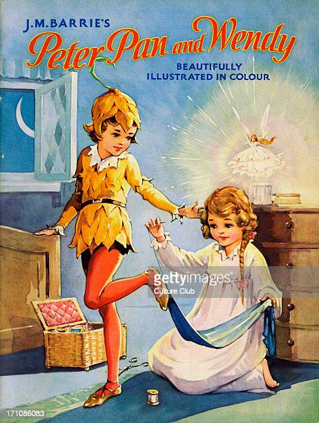 'Peter Pan and Wendy' 'Peter Pan and Wendy' by James Matthew Barrie Wendy sewing on Peter Pan's shadow Title page JMB Scottish novelist and dramatist...
