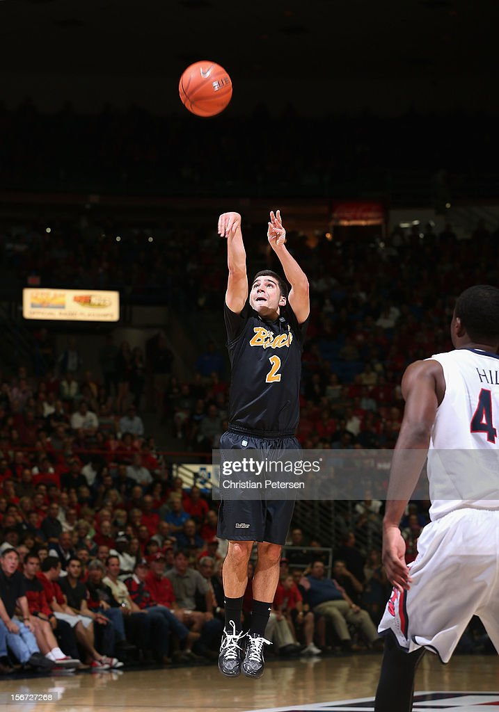 Peter Pappageorge #2 of the Long Beach State 49ers puts up a three point shot against the Arizona Wildcats during the college basketball game at McKale Center on November 19, 2012 in Tucson, Arizona. The Wildcats defeated the 49ers 94-72.