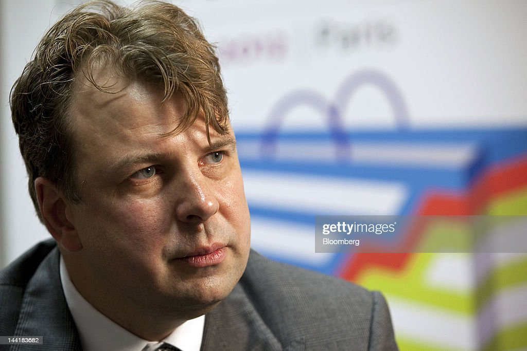 Peter Partma, chairman of the board of Russia's TsUM department store, pauses during an interview at the Global Department Store Summit in Paris, France, on Friday, May 11, 2012. The French economy will expand about 5 percent this year and 1.3 percent in 2013, helped by a 'gradual' increase in investment, the European Commission predicted in a report. Photographer: Balint Porneczi/Bloomberg via Getty Images