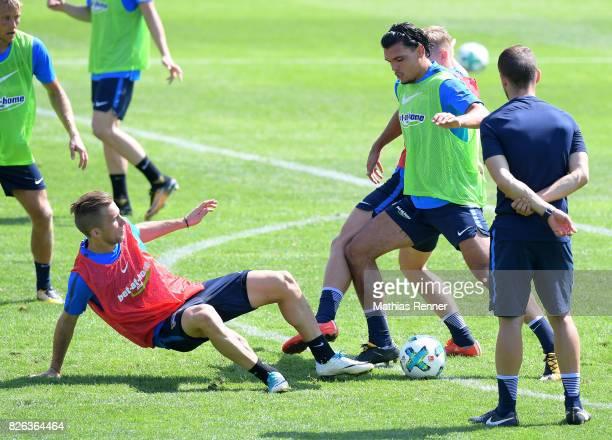 Peter Pekarik and Karim Rekik of Hertha BSC during the training camp on August 4 2017 in Schladming Austria
