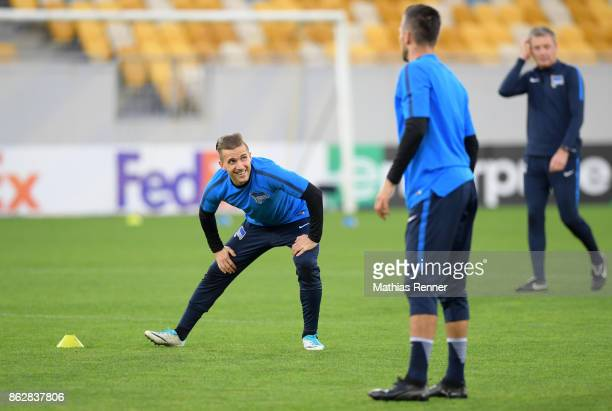 Peter Pekarik and Vedad Ibisevic of Hertha BSC during their training session on October 18 2017 in Luhansk Ukraine