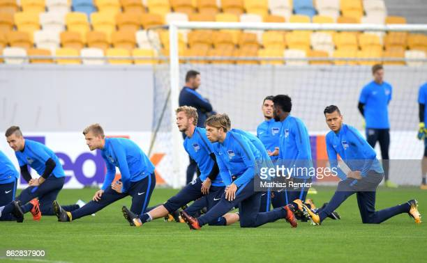 Peter Pekarik Arne Maier Fabian Lustenberger Alexander Esswein and Davie Selke of Hertha BSC during their training session on October 18 2017 in...
