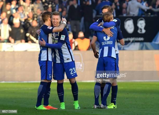 Peter Pekarik Mitchell Weiser Per Skjelbred and Niklas Stark of Hertha BSC celebrate the 21 win after the Bundesliga match between Hertha BSC and...