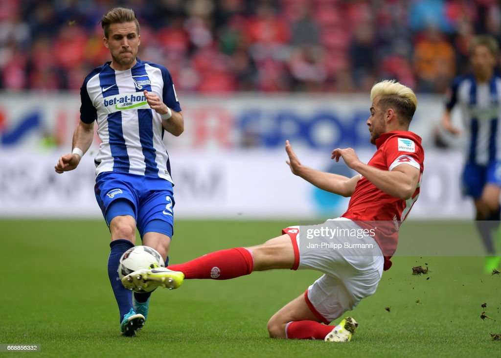 Peter Pekarik of Hertha BSC and Alexander Hack of FSV Mainz 05 during the game between FSV Mainz 05 and Hertha BSC on april 15, 2017 in Mainz, Germany.