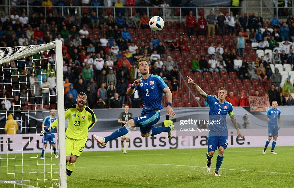 Peter Pekarik (C) of Slovakia in action during the friendly football match between Germany and Slovakia at the WWK Arena in Augsburg, Germany on May 29, 2016.
