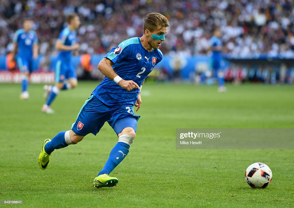 <a gi-track='captionPersonalityLinkClicked' href=/galleries/search?phrase=Peter+Pekarik&family=editorial&specificpeople=5577121 ng-click='$event.stopPropagation()'>Peter Pekarik</a> of Slovakia in action during the UEFA EURO 2016 round of 16 match between Germany and Slovakia at Stade Pierre-Mauroy on June 26, 2016 in Lille, France.