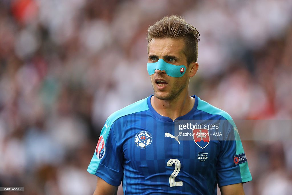 <a gi-track='captionPersonalityLinkClicked' href=/galleries/search?phrase=Peter+Pekarik&family=editorial&specificpeople=5577121 ng-click='$event.stopPropagation()'>Peter Pekarik</a> of Slovakia looks on during the UEFA Euro 2016 Round of 16 match between Germany and Slovakia at Stade Pierre-Mauroy on June 26, 2016 in Lille, France.