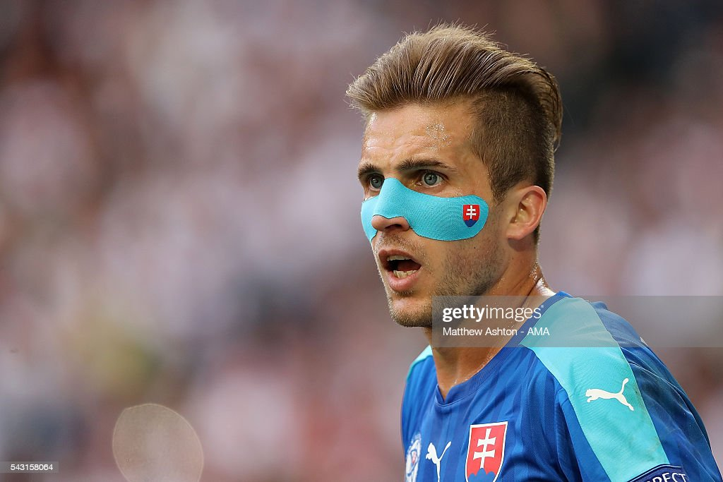 Peter Pekarik of Slovakia looks on during the UEFA Euro 2016 Round of 16 match between Germany and Slovakia at Stade Pierre-Mauroy on June 26, 2016 in Lille, France.