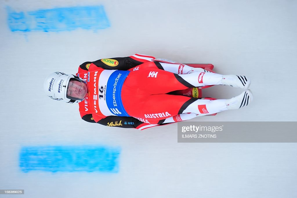 Peter Penz and Georg Fischler of Austria compete during the Luge World Cup Doubles competition on December 15 , 2012 in Sigulda, Latvia, some 50 km northeast of Riga. The pair finished in second place.